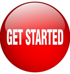 Get started red round gel isolated push button vector