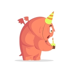 Giant ft pink monster blowing candle on cupcake vector