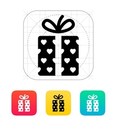 Gift box with hearts icons on white background vector