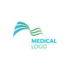 Green blue abstract medical logo curves waves vector