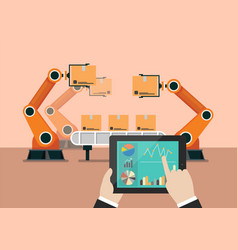 hand using tablet to control automation robot arm vector image