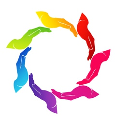 Hands helping colorful logo vector image
