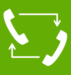 handsets with arrows icon green vector image