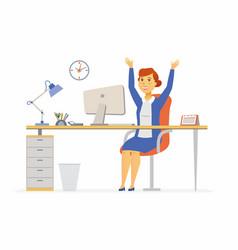 Happy office worker - modern cartoon people vector