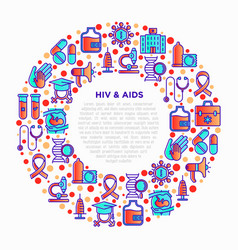 Hiv and aids concept in circle with line icons vector