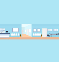 hospital reception waiting hall with seats vector image