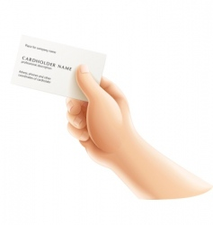 human hand with business card vector image