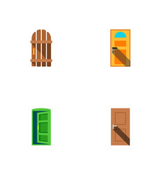 icon flat door set of gate entry approach and vector image