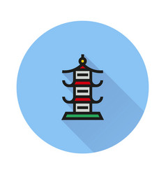 japan architecture symbol icon on round background vector image