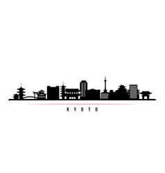 Kyoto skyline horizontal banner black and white vector