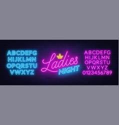 ladies night neon lettering on brick wall vector image