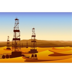 Landscape whith oil rigs in barren desert with vector image