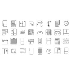 large collection refrigerator icons vector image