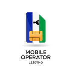 Lesotho mobile operator sim card with flag vector