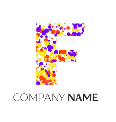 letter f logo with purple yellow red particles vector image