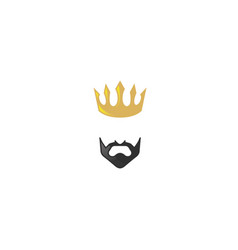 Lord and king golden crown with black beard vector