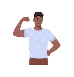 Male character showing biceps on arm boasting vector