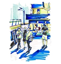 Markers drawing on paper of street city Kyiv vector
