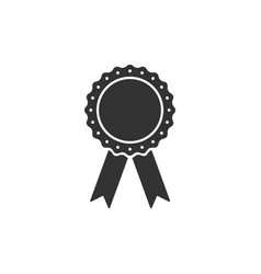 Medal badge with ribbons icon isolated flat vector