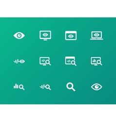 Monitoring icons on green background vector image