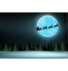 moon and flying Santa vector image