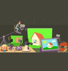 movie cinema horizontal banner cartoon style vector image