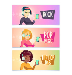 music styles fans cartoon banners set vector image