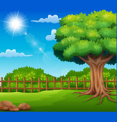 Nature landscape with green meadow and sunlight vector