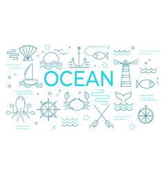 ocean theme banner with thin line icons vector image