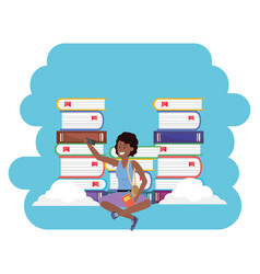 Online education millenial student book stacks vector
