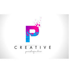 P letter logo with shattered broken blue pink vector