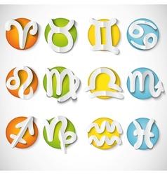 Paper cut zodiac set icon vector