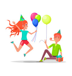people celebrating birthday man and woman isolated vector image