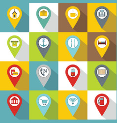 Points interest icons set flat style vector