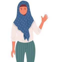 Representative arab country in hijab smiling vector