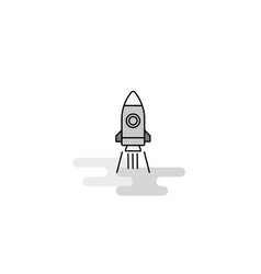 rocket web icon flat line filled gray icon vector image