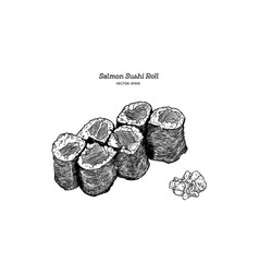 salmon sushi roll hand draw vector image