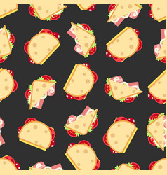 sandwiches seamless pattern- fast food seamless vector image
