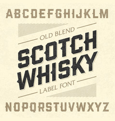 scotch whisky style label font with sample design vector image