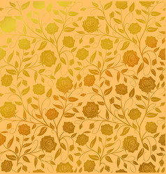 seamless floral pattern design hand drawn golden vector image