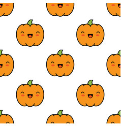seamless halloween pattern with pumpkins on white vector image