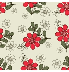 Seamless Pattern Red Flowers vector image