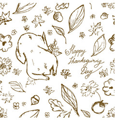 seamless thanksgiving pattern with turkey vector image