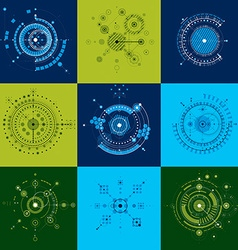 Set Bauhaus abstract backgrounds made with grid vector