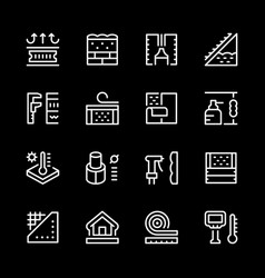 set line icons of insulation vector image