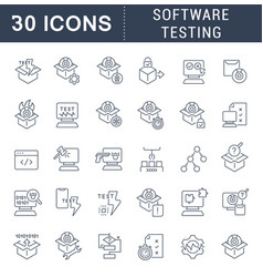 Set line icons software testing vector