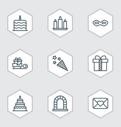 Set of 9 new year icons includes arch wax vector