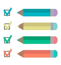 set pencils and check marks vector image