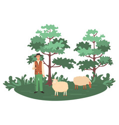 Sheep farming man shepherd with herd on nature vector