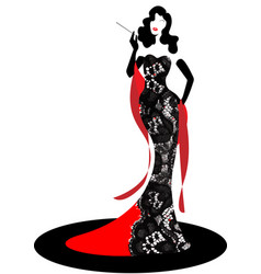 shop logo fashion woman model silhouette diva vector image